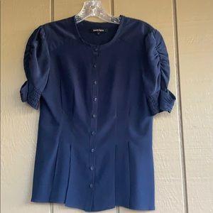 Nanette Lepire Navy Silk Blouse, Sz 4